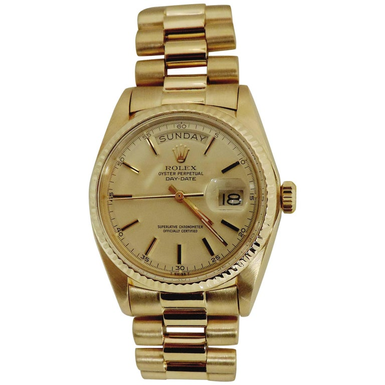 Rolex Yellow Gold President Perpetual Day-Date Wristwatch Ref 7286