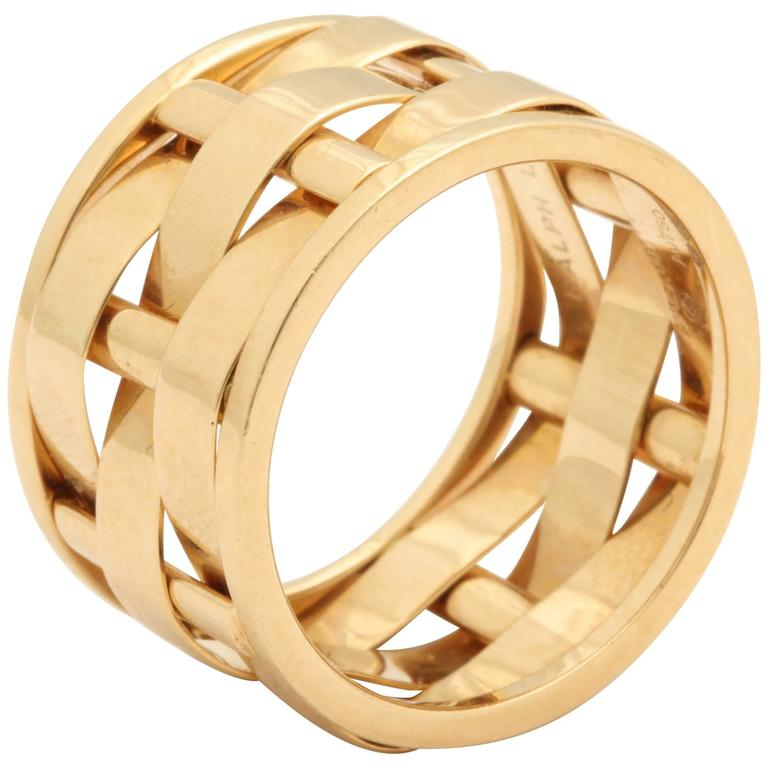 1990s Ralph Lauren Basket Weave Open Link Gold Band Ring 1