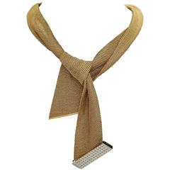Yuri Ichihashi Mesh Scarf Gold Wrap Necklace with Detachable Diamond Clasp