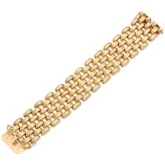 1950s Five-Row Two Color Pink and Yellow Gold Flexible Chic Link Bracelet