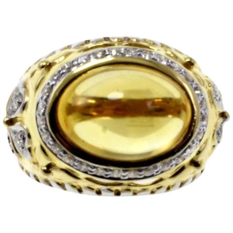 Luise Topaz Diamond Gold Cocktail Ring