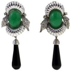 Gold Diamond Onyx Stone Dangle Earrings