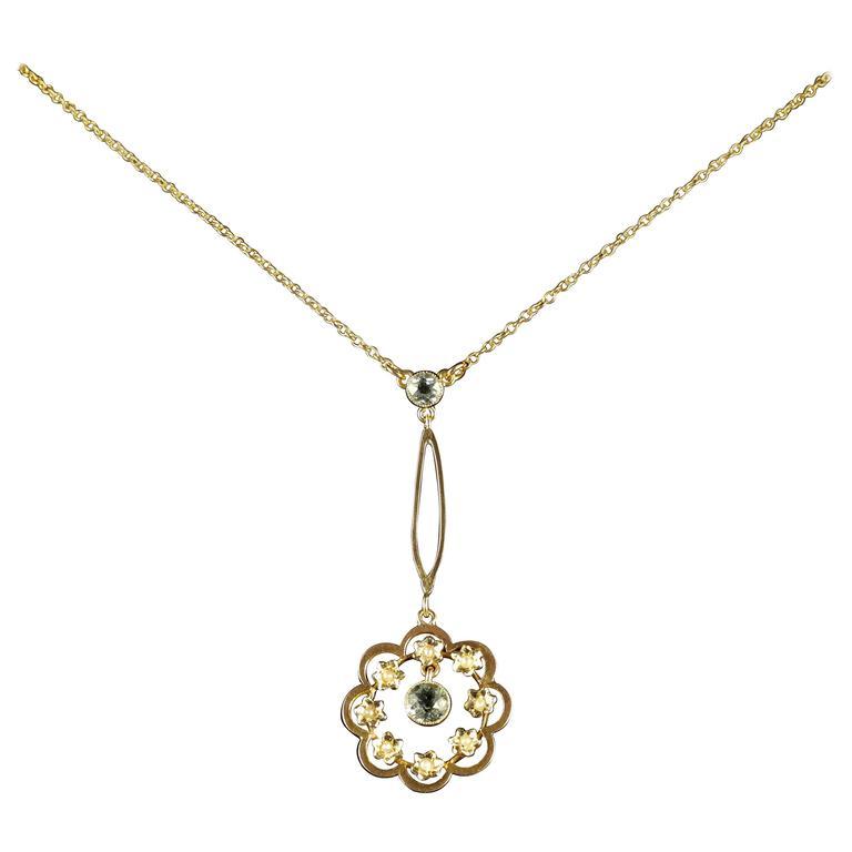 Antique Victorian Aquamarine Gold Pendant Necklace