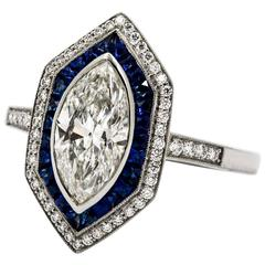 Art Deco Geometric Style Sapphire Diamond Platinum Ring