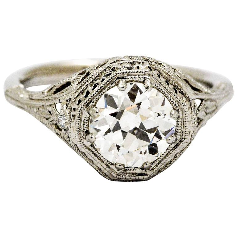Art Deco 1.52 ct Diamond Engraved Platinum Engagement Ring
