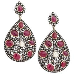 Rubies Diamonds Silver and Gold Earrings