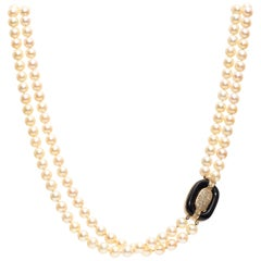 Extra Long Pearl Necklace, 18k Yellow Gold, Pearls & Diamonds, 1960s