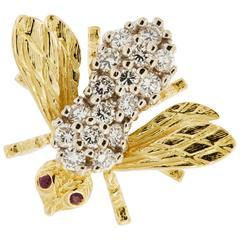 Collectable Herbert Rosenthal Diamond Ruby Bee Brooch