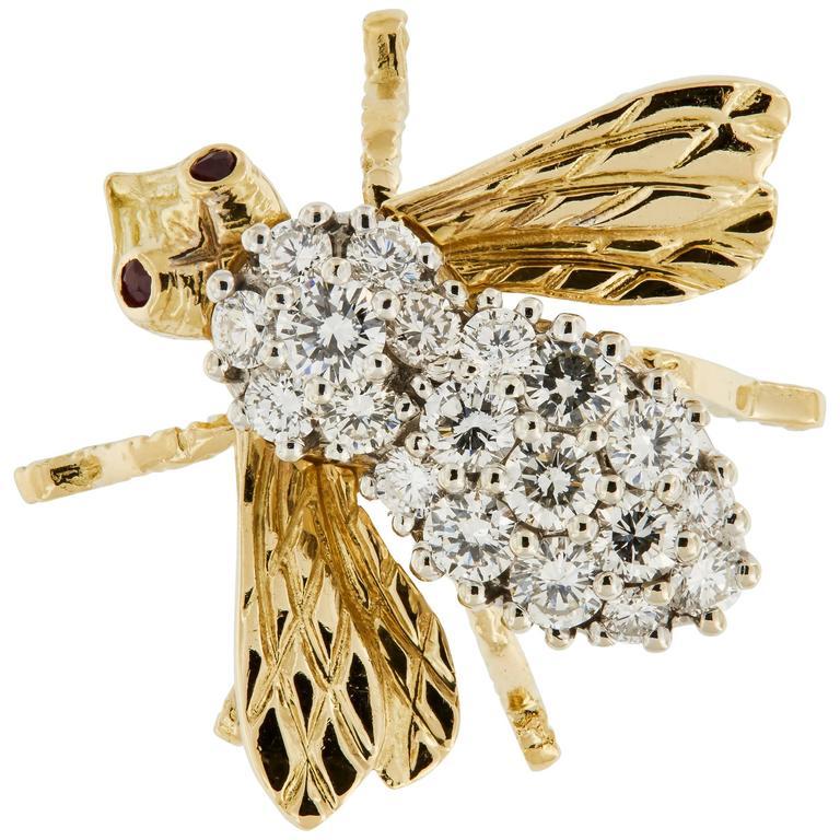 Herbert Rosenthal Diamond Ruby Bee Brooch