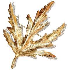 Verdura Diamond Yellow Gold Platinum Oak Leaf Brooch