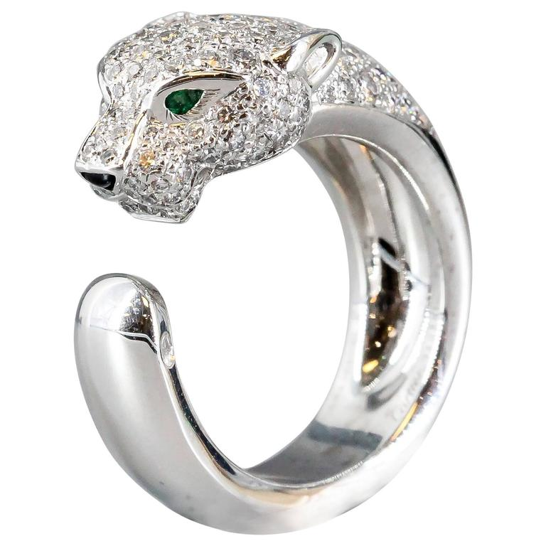 Cartier Panthere Diamond Emerald Onyx White Gold Band Ring 1