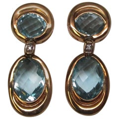 Aquamarine Diamond Gold Earrings