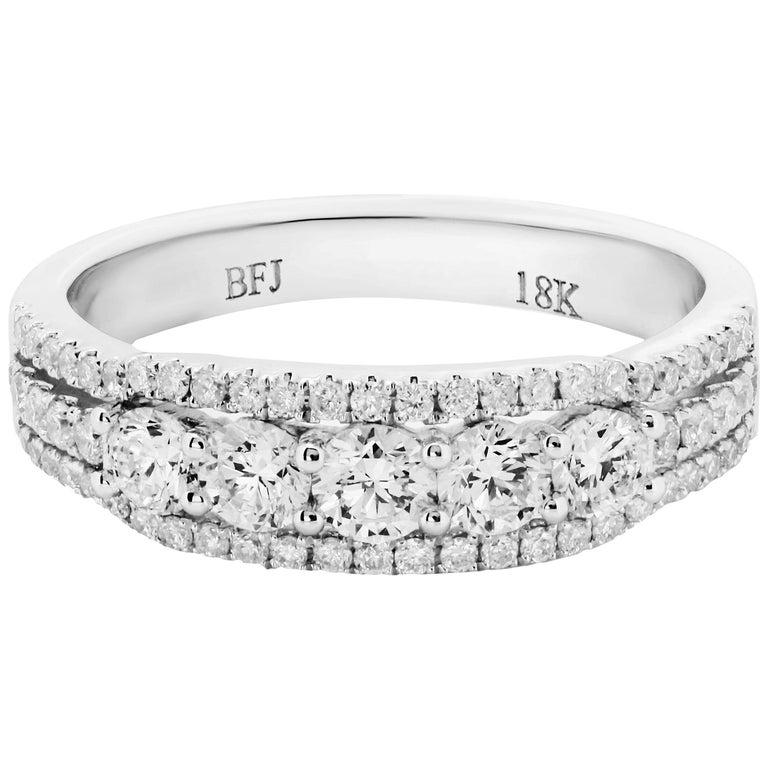 Three Row White Diamond Gold Band Ring