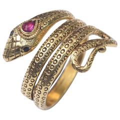 Fine Ruby Sapphire Gold Snake Ring