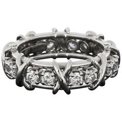 Tiffany & Co. Schlumberger 16 Stone Diamond Platinum Eternity Band Wedding Ring