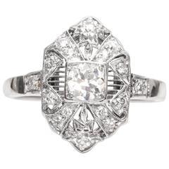 1920s Art Deco .45 Carat Old European Diamond Platinum Shield Ring
