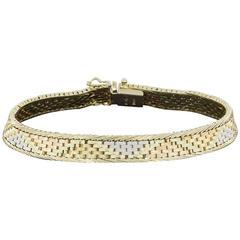 Tri-Color Italian Gold Woven Panther Link Bracelet