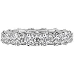 4.06 Carat Round Brilliant Diamond Platinum Eternity Band Ring