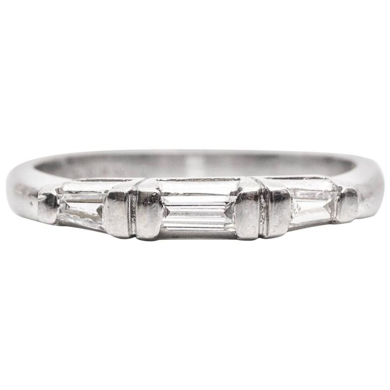 Baguette Wedding Band.1940s Baguette Diamonds Platinum Wedding Band Ring