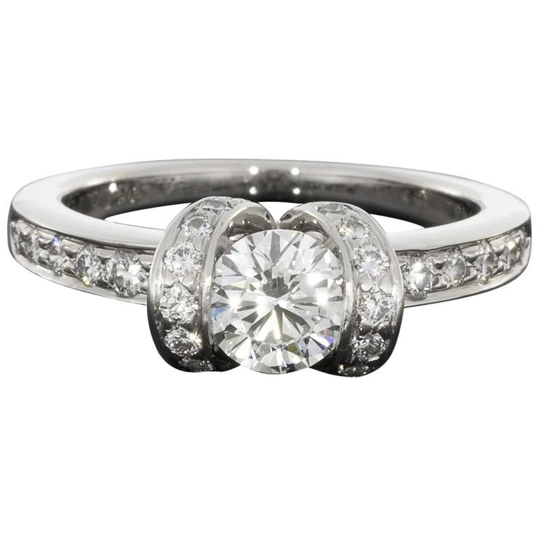 def862dd9 Tiffany & Co. Ideal Cut Diamond Platinum Ribbon Engagement Ring For Sale