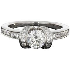 Tiffany & Co. Ideal Cut Diamond Platinum Ribbon Engagement Ring