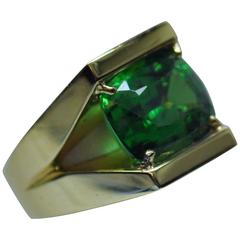 Rare 14.20 Carat Vivid Tsavorite Green Garnet Yellow Gold Ring