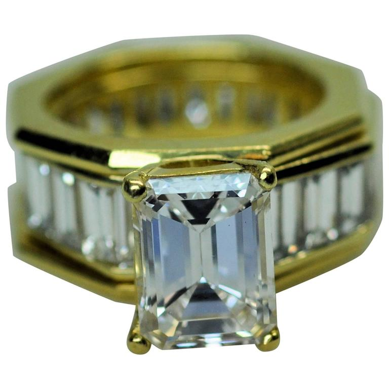 GIA Emerald Cut 4.09 Carat Diamond Baguette Diamond Wedding Band Insert Ring 1