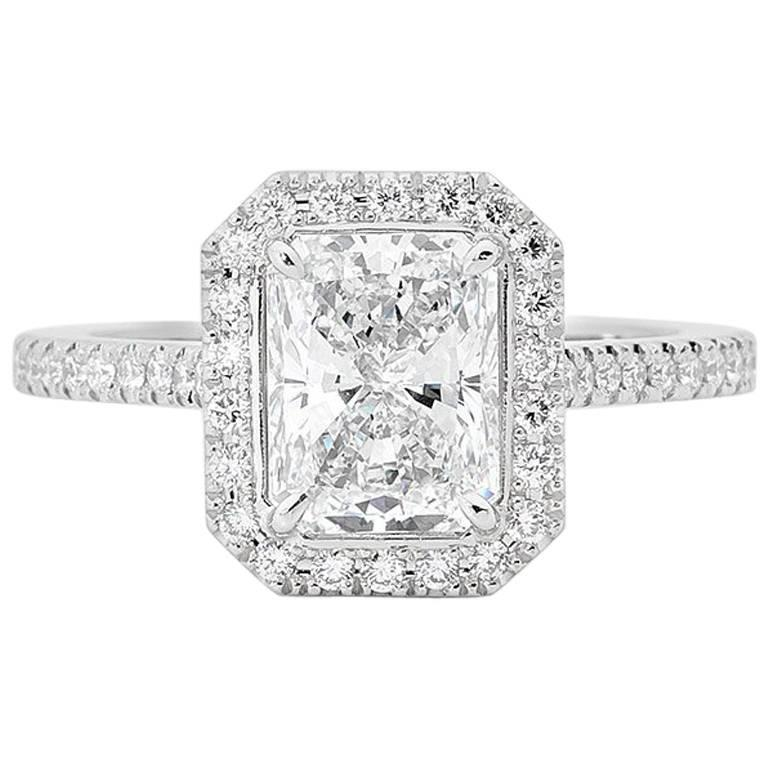 GIA Certified 2.06 Carat Radiant Cut Diamond Platinum Engagement Ring