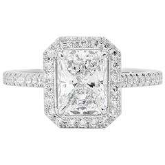 GIA Certified 2.06 Carat Radiant Cut Diamond Platinum Engagement Ring