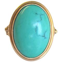 Chinese Turquoise Gold Cocktail Ring