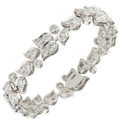 Cartier 7.49 Carats Diamonds White Gold Floral Bracelet