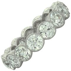 Hancocks Platinum Full Eternity Ring Set 4.90 Carat of Old European Cut Diamond