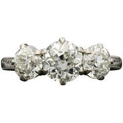 Hancocks 2.62 Carat diamond Three-Stone hand engraved platinum ring