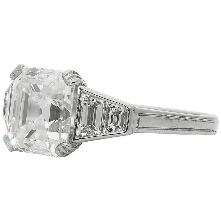 Hancocks GIA 2.77 Carat Asscher cut diamond platinum ring