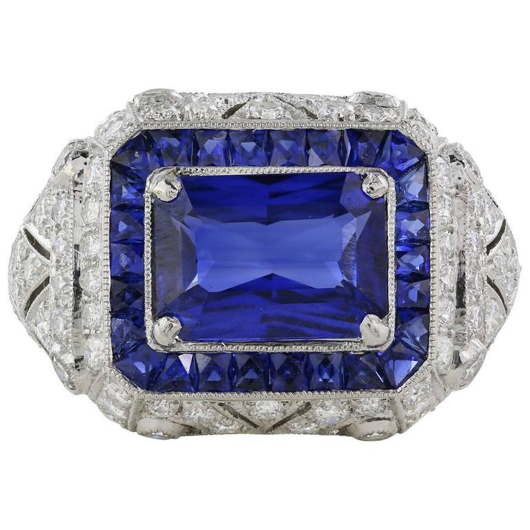 2.43 Carat Sapphire with GRS Report Diamond Platinum Ring
