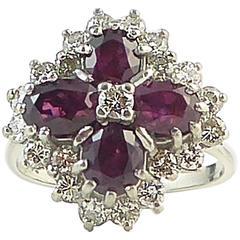 Vintage Ruby Diamond Ring, Multistone Cluster, 1.0 Carat of Diamonds