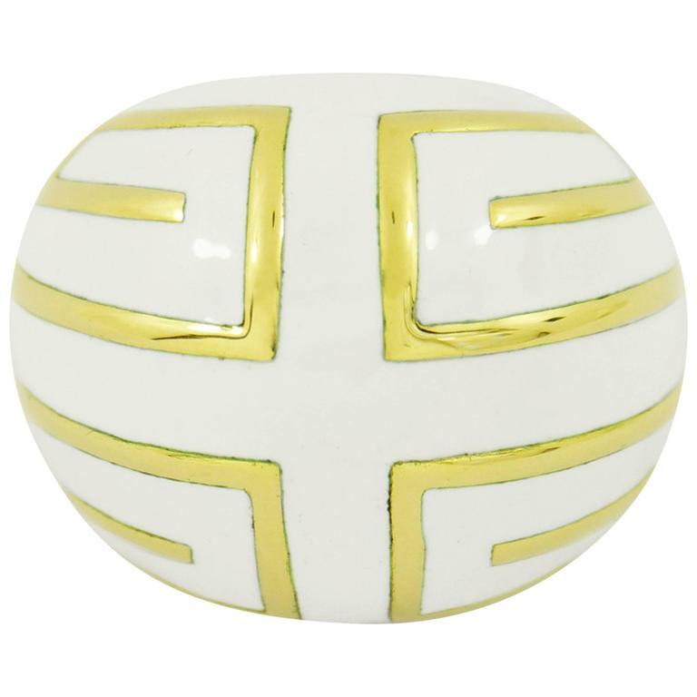 David Webb White Enamel Gold Ring