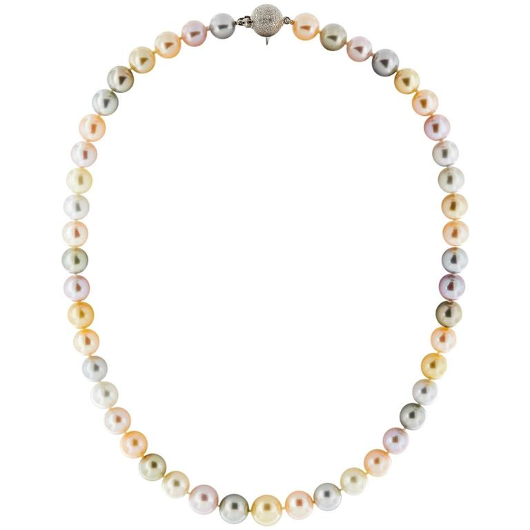 Multicolored South Sea and Freshwater Pearls Necklace