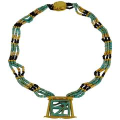 Egyptian Revival Eye of the Horus Runway Gold Pendant Necklace