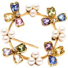 Tiffany & Co. Rare Multicolor Pearl Sapphire Diamond Yellow Gold Pendant