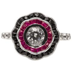 Dramatic Onyx Ruby Diamond Platinum Engagement Ring