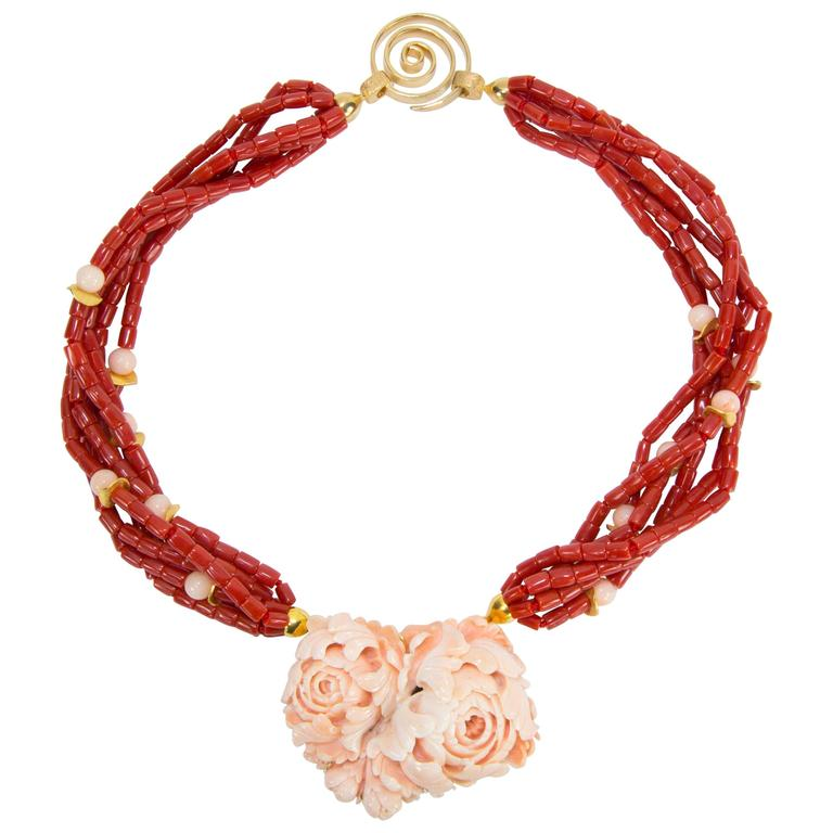 Beautiful Multi Strand Coral and Carved Cral Flower Pendant Necklace