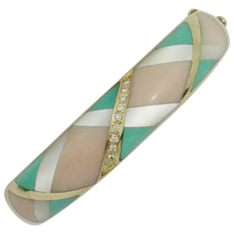 Asch Grossbardt Diamond Gold Stone Inlay Bracelet