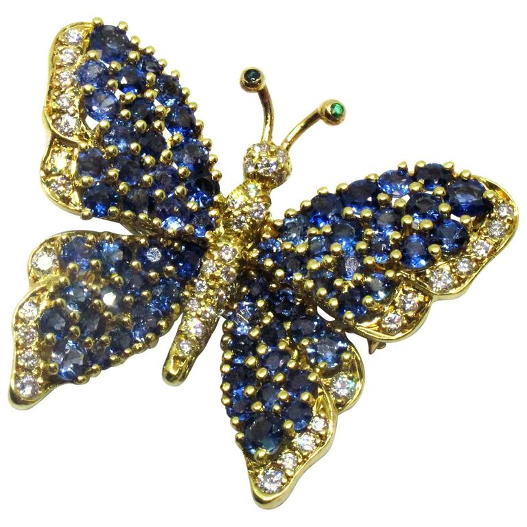 Tiffany & Co. Sapphire Diamond Gold Butterfly Pin