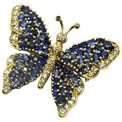 Tiffany & Co. Sapphire Diamond Gold Butterfly Pin