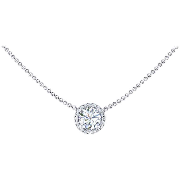 Ferrucci GIA Certified 1.06 Carat Diamond Platinum Pendant