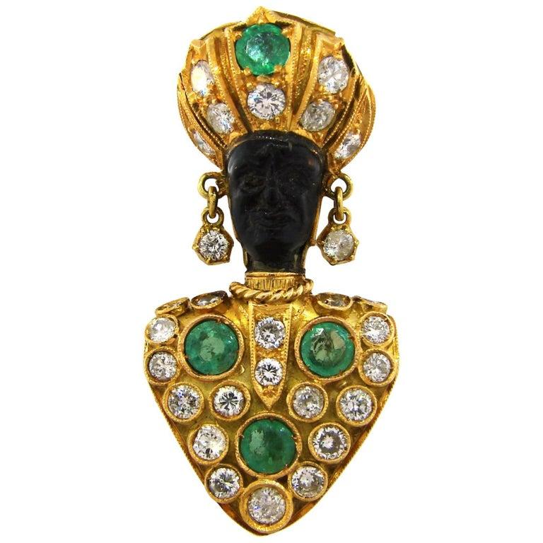 1950s Nardi Emerald Diamond Yellow Gold Blackamoor Pin Clip Brooch