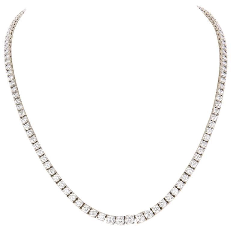 13.54 Carat Diamonds White Gold Riviere Necklace