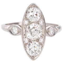 Edwardian Marquise Shaped Diamond Platinum Engagement Ring