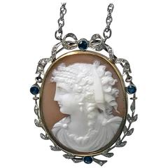 Antique English Cameo Diamond Platinum Pendant, circa 1920
